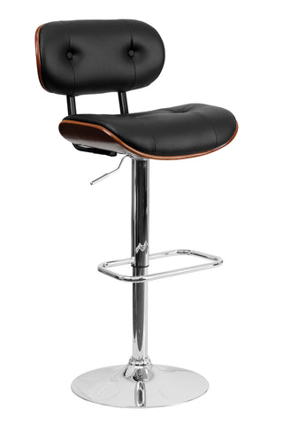 Flach Furniture Walnut Bentwood Adjustable Height Bar Stool with Button Tufted Black Vinyl Upholstery [SD-2228-WAL-GG]