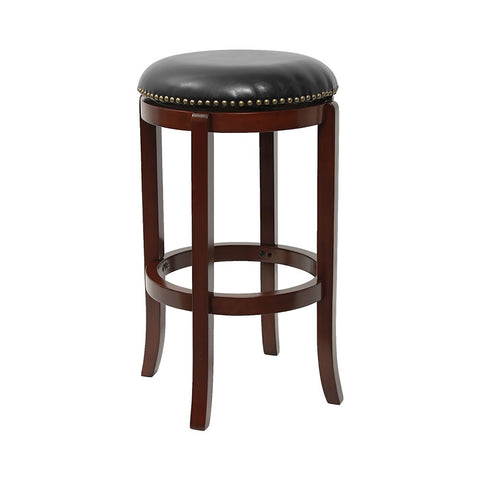 "Flash Furniture29""""Backless Cherry Wood Bar Stool with Black Leather Swivel Seat [TA-68929-CHY-GG]"