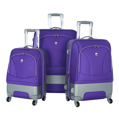 Olympia Majestic 3 Piece Expandable Rolling Case Wheeled Carry On Hybrid luggage Suitcase Set Plum