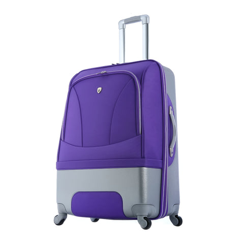 "Luggage America Majestic 21"""" Expandable Spinner Carry-On Outdoor Holiday Trip Business Travel Suitcase Trolley With Push Button Aluminum Handle Plum"