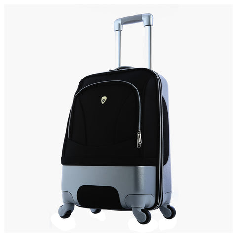 "Luggage America Majestic 29"""" Expandable Spinner Rolling Case Outdoor Holiday Trip Business Travel Suitcase Trolley With Push Button Aluminum Handle Black"