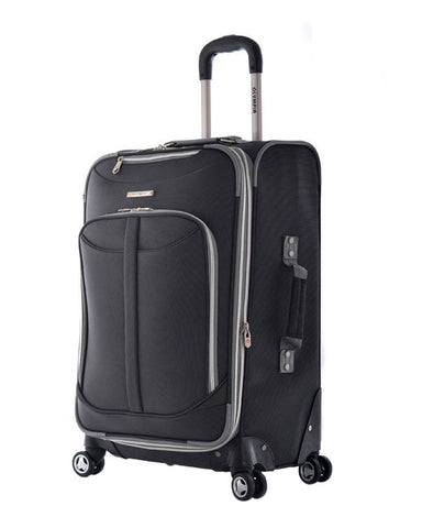 "Olympia Tuscany 25"""" Expandable Hybrid Outdoor Rolling Travel Spinner Luggage Suitcase Black"