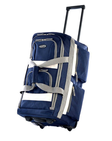 "Olympia 26"""" 8 Pocket Rolling Wheeled Luggage Suitcase Travel Tote Duffel Bag Navy"