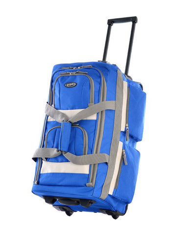 "Olympia 26"""" 8 Pocket Sports Cargo Travel Rolling Duffel Carry-On Luggage Suitcase Tote Bag - Royal Blue"
