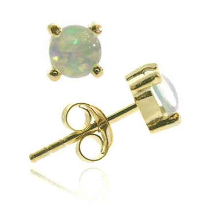 18K Gold over Sterling Silver Created White Opal 6mm Round Stud Earrings