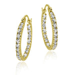 18k Gold over Silver 18mm Inside Out CZ Hoop Earrings