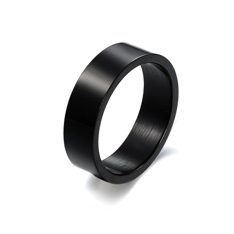 Korean ornament New style simple Black smooth Titanium steel couple rings -one for women only: Korean ornament New style simple Black smooth Titanium steel couple rings -one for women only-Size 5