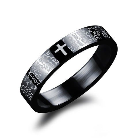 Titanium steel couple rings Spanish Bible prayer cross -one for women only: Titanium steel couple rings Spanish Bible prayer cross -one for women only-Size 5