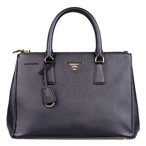 Black Leather Box Tote