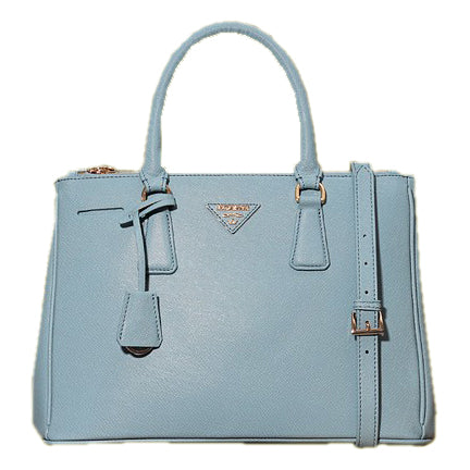 Light Blue Leather Box Tote