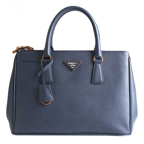 Blue Leather Box Tote