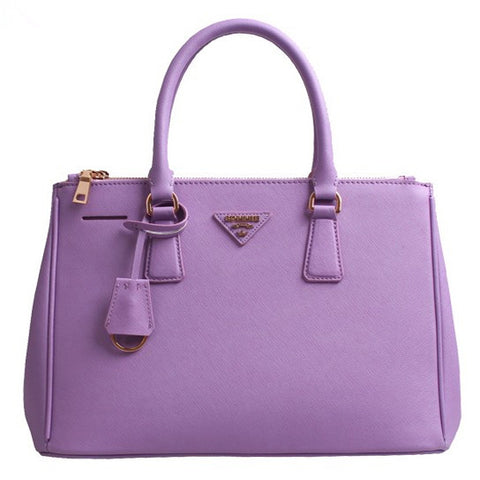 Purple Leather Box Tote