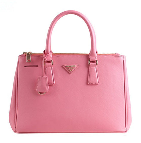 Pink Leather Box Tote