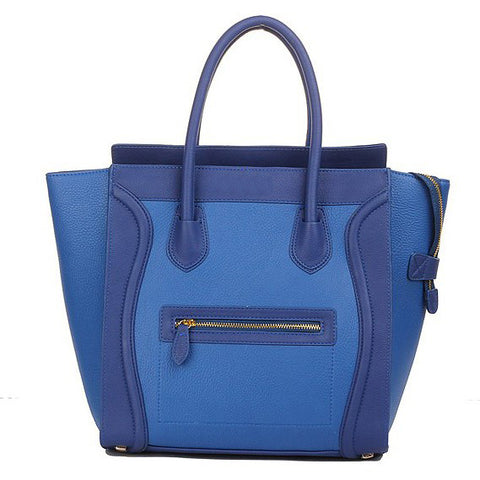 Blue Structured Leather Luggage Tote