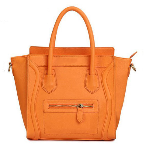 Orange Structured Leather Luggage Tote