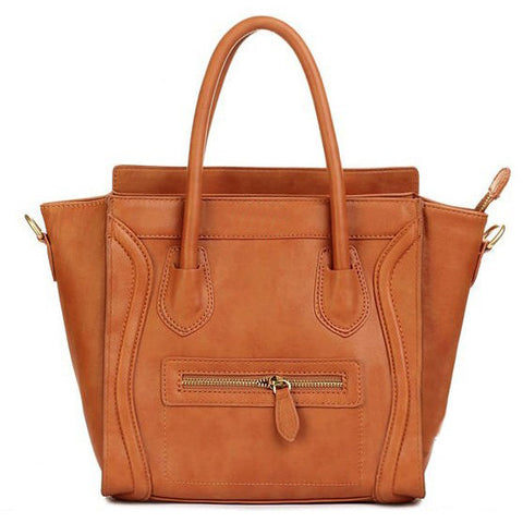Brown Structured Leather Luggage Tote