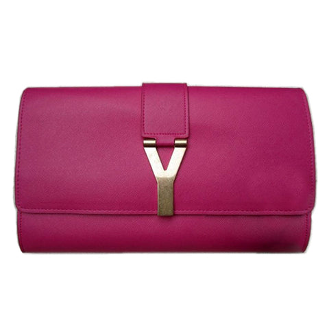 Magenta Leather Clutch