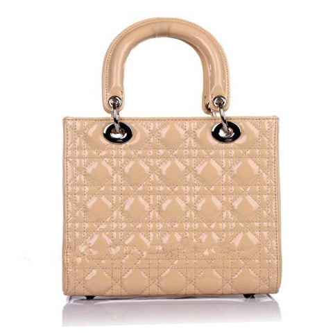 Patent Leather Quilted Tote Handbag
