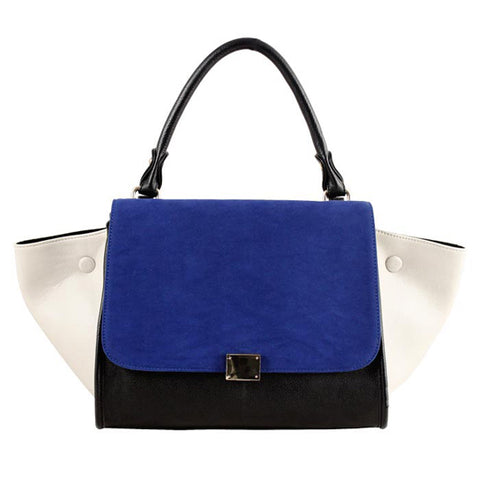 Blue Trapeze Leather Bag