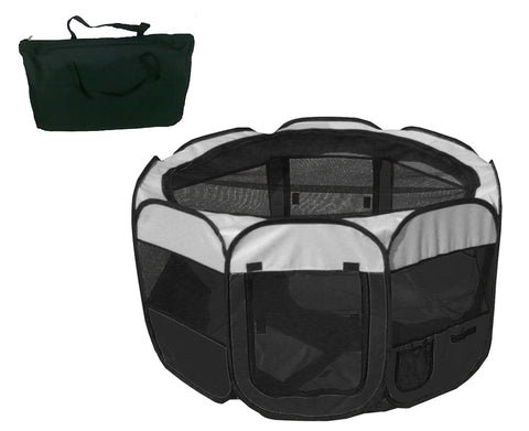 All-Terrain' Lightweight Easy Folding Wire-Framed Collapsible Travel Pet Playpen- Black And White: Medium