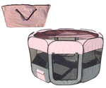 All-Terrain' Lightweight Easy Folding Wire-Framed Collapsible Travel Pet Playpen- Pink And Grey: Medium