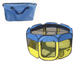 All-Terrain' Lightweight Easy Folding Wire-Framed Collapsible Travel Pet Playpen- Light Blue And Light Yellow: Medium