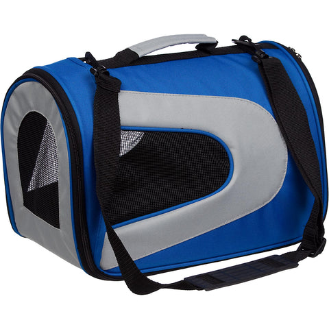 Airline Approved Folding Zippered Sporty Mesh Pet Carrier - Blue & Grey: BLUE w/ GREY - Small