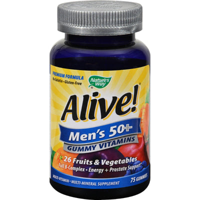 Nature's Way Alive - Men's 50+ Gummy Multi-vitamins - 75 Chewables