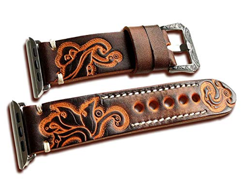Carved Leather Band For Apple iWatch Series 5, 4, 3, 2, 1 - 38/40 & 42/44mm