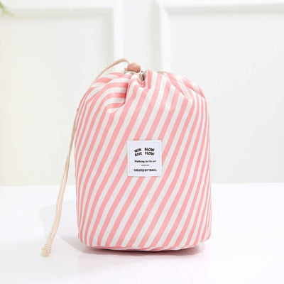 Women's Cosmetic Bag Color Cylinder Drawstring Waterproof Travel Cosmetic Bag Large Capacity Beauty Makeup Storage Toiletry Kit