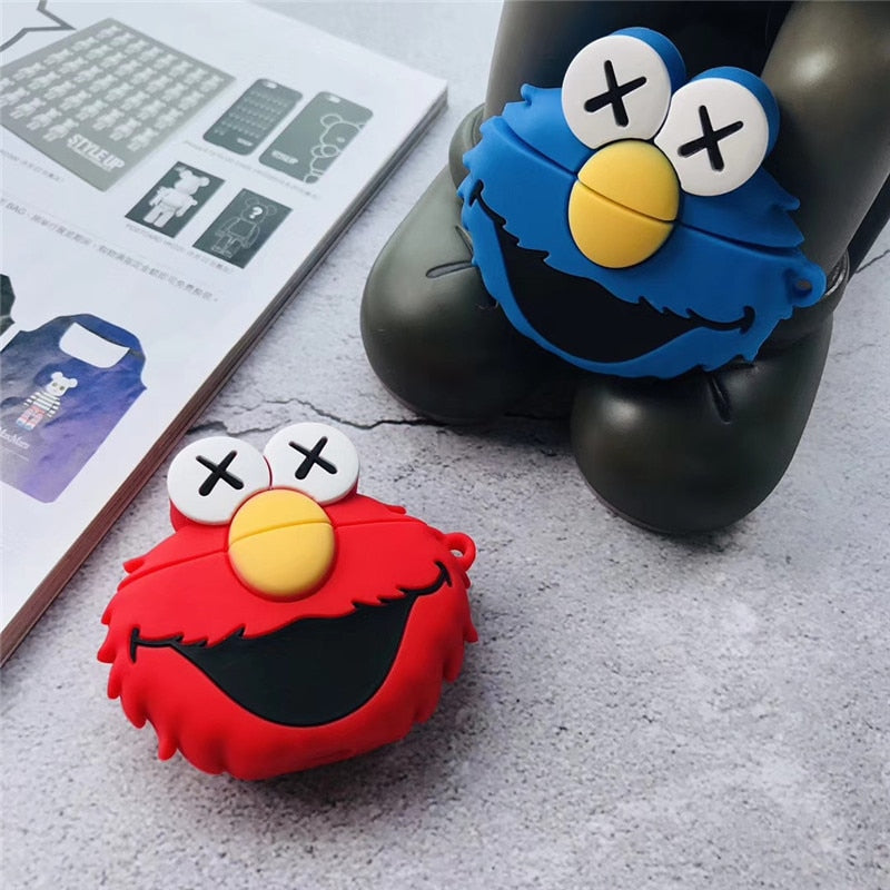 KAWS Sesame Street AirPods Protective Case Applicable Earphones Silicone Storage Box Cartoon Bluetooth Earphone Set Popular Bran
