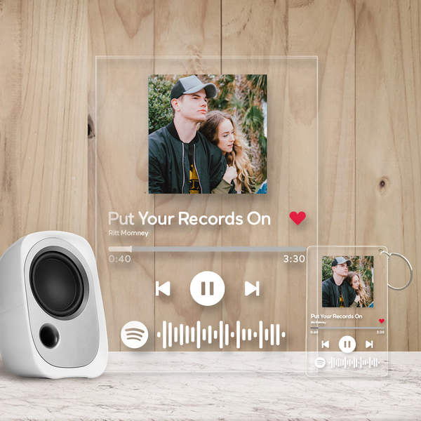 Custom Spotify Music Plaque & Keychain with scannable Spotify code