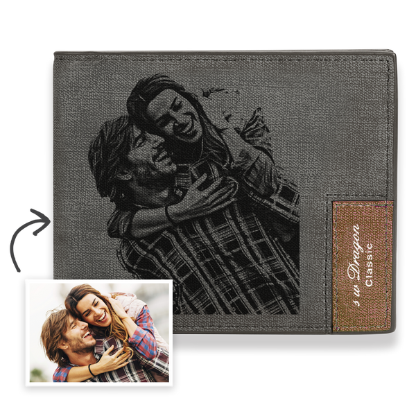 Men's Bifold Short Custom Photo Wallet Grey