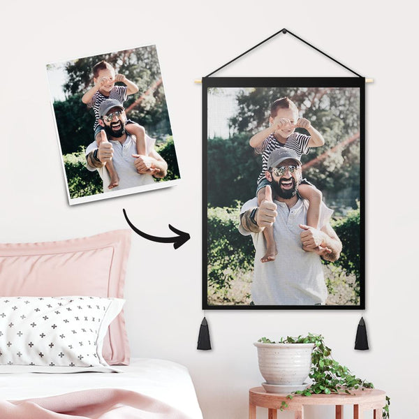 Father's Day Gifts - Custom Father and Daughter Photo Tapestry - Wall Decor Hanging Fabric Painting Hanger Frame Poster