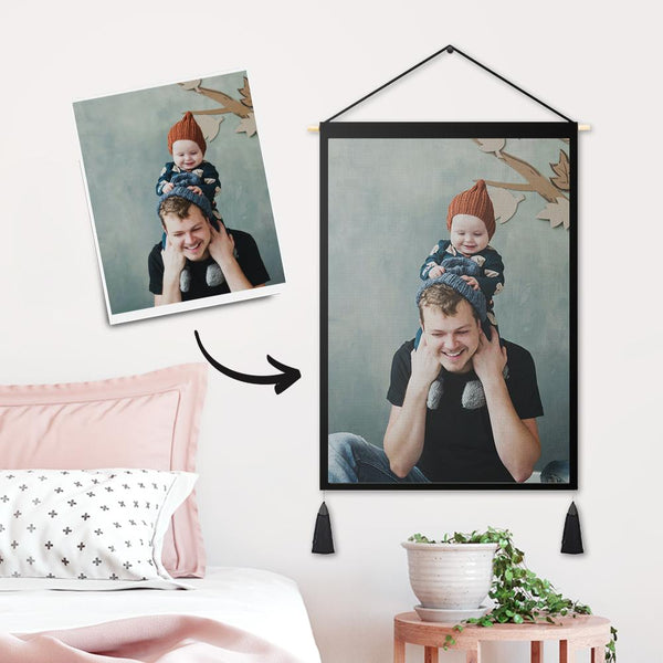 Father's Day Gifts - Custom Father and Child Photo Tapestry - Wall Decor Hanging Fabric Painting Hanger Frame Poster