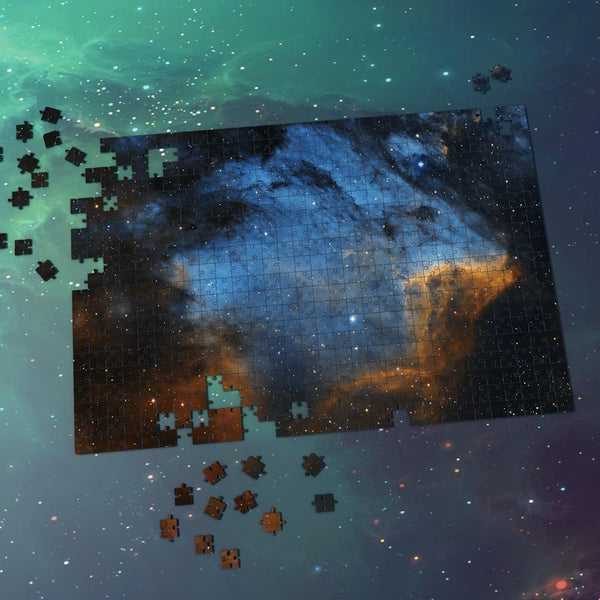 Space Themed Jigsaw Puzzle Starry Sky For Adults And Kids - Blue And Earthy Yellow Nebula