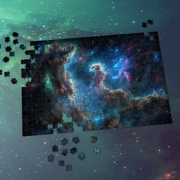 Space Themed Jigsaw Puzzle Starry Sky For Adults And Kids - Blue-purple Nebula