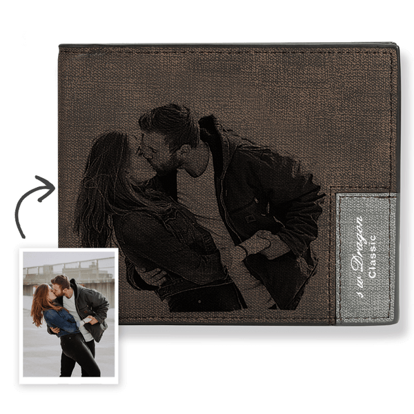 Men's Bifold Short Custom Photo Wallet - Brown