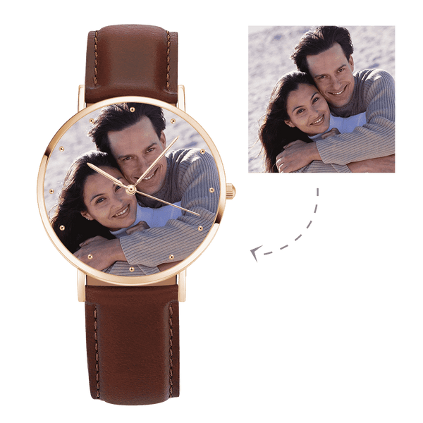Unisex Engraved Rose Goldtone Photo Watch Brown Leather Strap 40mm