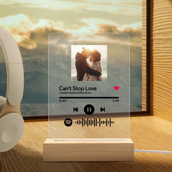 Custom Spotify Music Plaque, Keychain & Night Light with scannable Spotify code