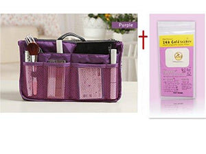 10 Different Colors Purse Organizer Insert Multi-Function Cosmetic Storage Bag In Bag Purple-Xb01009+Free Gift Phone Radiation Sticker
