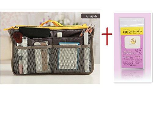 10 Different Colors Purse Organizer Insert Multi-Function Cosmetic Storage Bag In Bag Gray-B-Xb01008+Free Gift Phone Radiation Sticker