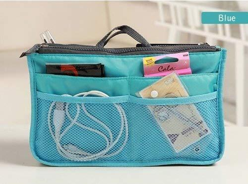 10 Different Colors Purse Organizer Insert Multi-Function Cosmetic Storage Bag In Bag Blue-Xb01005+Free Gift Phone Radiation Sticker