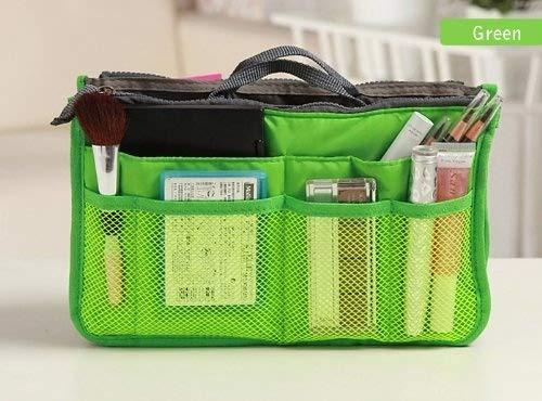 10 Different Colors Purse Organizer Insert Multi-Function Cosmetic Storage Bag In Bag Green-Xb01004+Free Gift Phone Radiation Sticker