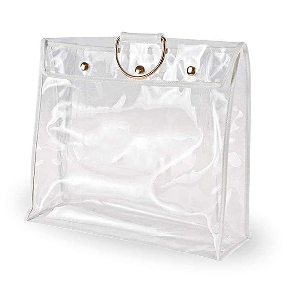 Featured foonee transparent dust proof handbag organizer with magnetic snap handle clear purse protector holder storage bag for women girls