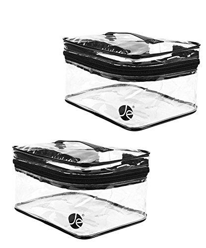 , Javoedge Medium Train Case Clear Pvc Vinyl Multipurpose Cosmetic Makeup Packing Carry On Bag