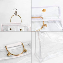 Load image into Gallery viewer, Home foonee transparent dust proof handbag organizer with magnetic snap handle clear purse protector holder storage bag for women girls