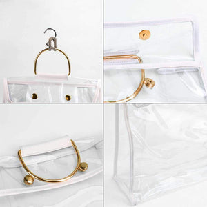 Home foonee transparent dust proof handbag organizer with magnetic snap handle clear purse protector holder storage bag for women girls