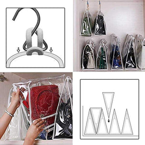 Heavy duty foonee transparent dust proof handbag organizer with magnetic snap handle clear purse protector holder storage bag for women girls