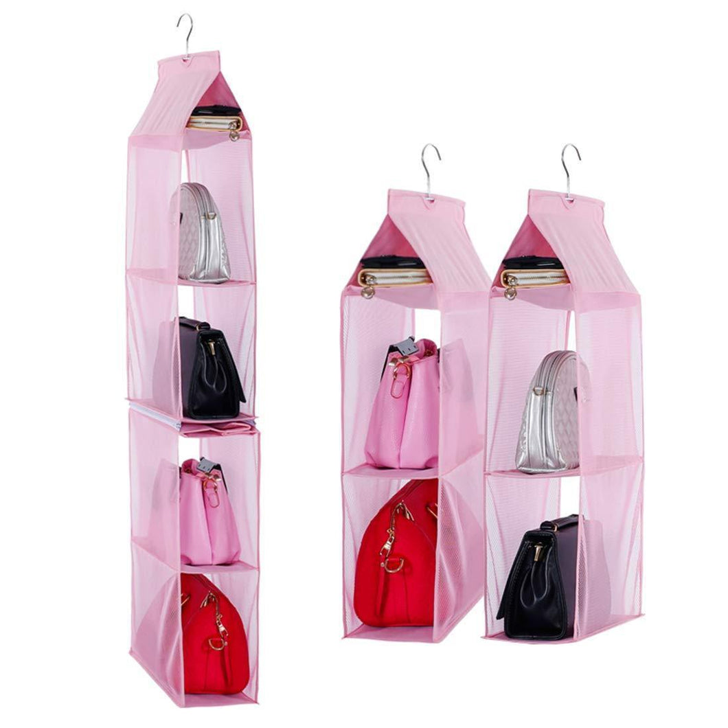 Detachable 6 Compartment Organizer Pouch Hanging Handbag Organizer Clear Purse Bag Collection Storage Holder Wardrobe Closet Space Saving Organizers System for Living Room Bedroom Home Use (Pink)